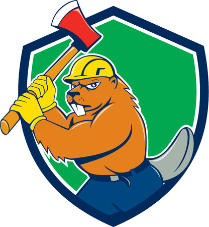 Illustration of a beaver lumberjack wearing hard hat wielding an ax set inside shield crest on isolated background done in cartoon style.