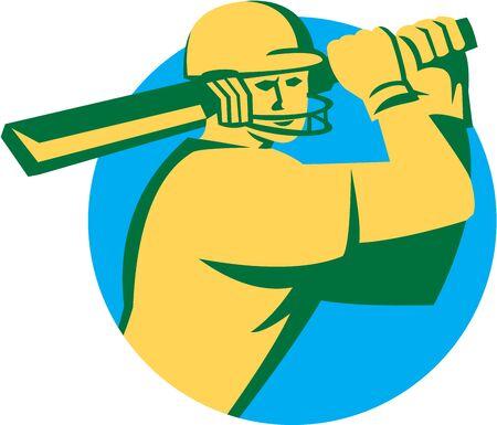 bateo: Ilustraci�n de un bateador del jugador del grillo con el palo de bateo fij� el c�rculo interior hecho en estilo retro en el fondo aislado.