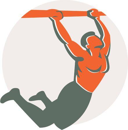 pull up: Illustrazione di un corpo atleta CrossFit esercizio peso tirare appeso sulla barra di muscolo fino di fronte alla parte interna cerchio fatto in stile retr� su sfondo bianco isolato