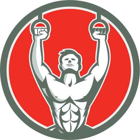 Illustration of a crossfit athlete body weight exercise hanging hangoing on gymnastic rings kipping muscle up facing front inside shield crest done in retro style on isolated white background