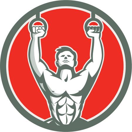 Illustratie van een crossfit atleet lichaamsgewicht oefening opknoping hangoing op gymnastiek- ringen Kipping spier up naar de voorkant binnen schild kuif gedaan in retro stijl op witte achtergrond Stock Illustratie