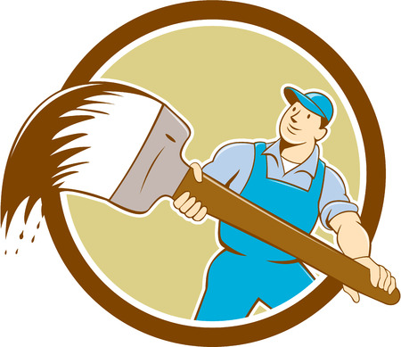 house painter: illustration of a house painter handyworker holding giant paintbrush brush viewed from front set inside circle on isolated background done in cartoon style. Illustration