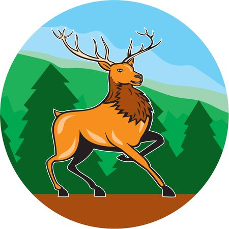 Illustration of a red stag deer buck marching walking facing side set inside circle with mountains forest trees in the background done in cartoon style. Vector