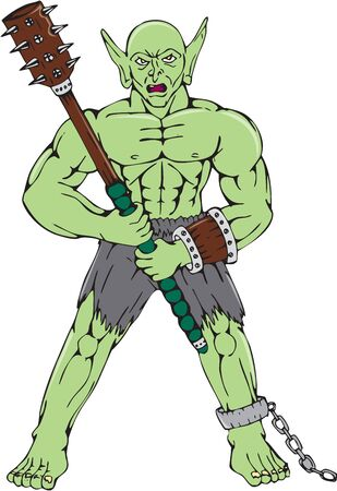 malevolent: Cartoon style illustration of an orc warrior wielding a club and shield viewed from front on isolated white background.