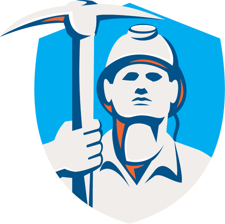 striking: Illustration of a coal miner wearing hardhat holding pick axe striking facing front set inside shield crest done in retro style. Illustration