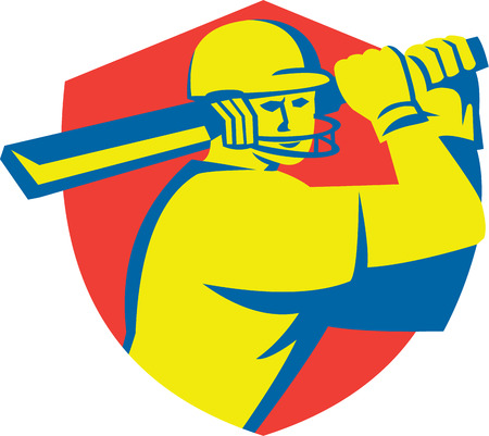 batsman: Illustration of a cricket player batsman with bat batting set inside shield crest done in retro style on isolated background. Illustration