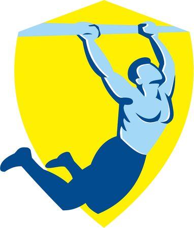 pull up: Illustrazione di un corpo atleta CrossFit esercizio peso tirare su appeso sulla barra di muscolo fino di fronte alla parte all'interno scudo fatto in stile retr� su sfondo bianco isolato
