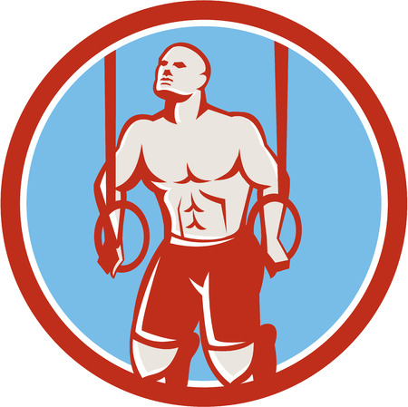 dip: Illustration of a crossfit athlete body weight exercise hanging on gymnastic ring dip kipping muscle up facing front inside circle done in retro style on isolated white background