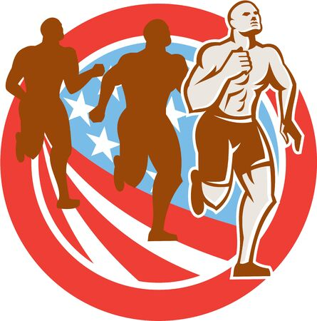 endurance: Illustration of an American crossfit marathon runners running facing front set inside circle with stars and stripes flag done in retro style on isolated white background
