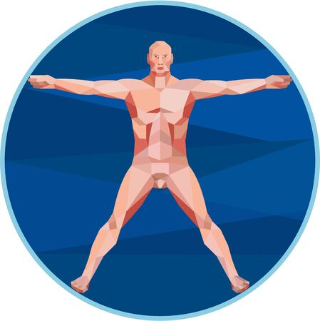 spread legs: Low Polygon style illustration on the Da Vinci man Vitruvian Man male human anatomy showing a male spread eagle spreading arms viewed from front set inside circle on isolated background.