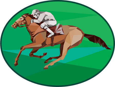 oval shape: Low Polygon style illustration of horse and jockey racing viewed from the side set inside oval shape on isolated background.