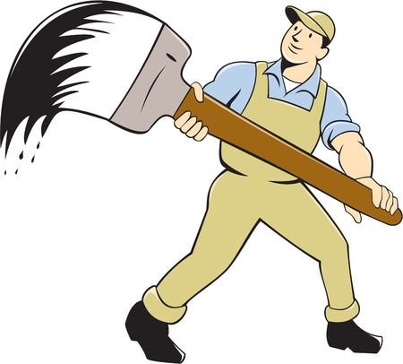 house painter: illustration of a house painter holding giant paintbrush viewed from front set on isolated white background done in cartoon style.