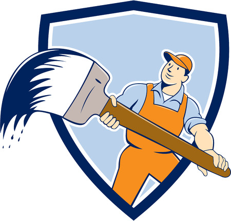 illustration of a house painter handyworker holding giant paintbrush viewed from front set inside shield crest on isolated background done in cartoon style.