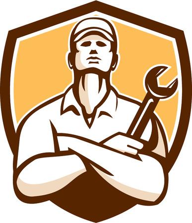 mecanico: Ilustraci�n de un trabajador mec�nico que llevaba sombrero de brazos cruzados sosteniendo una llave mirando conjunto dentro cresta escudo sobre fondo aislado hecho en estilo retro. Vectores