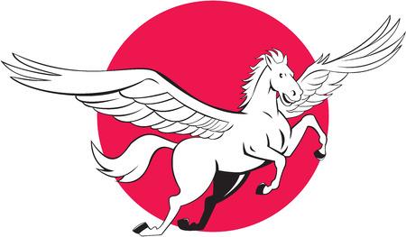 pegaso: Ilustraci�n de un caballo volador Pegaso fij� el c�rculo interior en el fondo aislado hecho en estilo de dibujos animados. Vectores