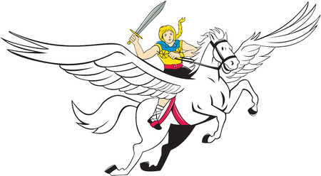 mythology: Illustration of a valkyrie of Norse mythology female rider Amazon warriors riding horse with sword done in cartoon style on isolated white background. Illustration