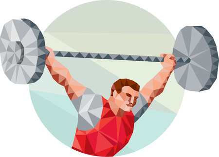 weightlifter: Low Polygon style illustration of a weightlifter lifting barbell facing side set inside circle shape on isolated background Illustration