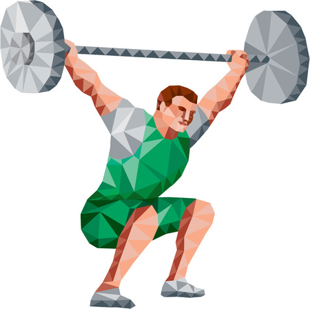 weightlifter: Low Polygon style illustration of a weightlifter lifting barbell facing side set on isolated white background. Illustration