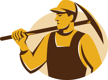 pickaxe: Illustration of a miner worker holding pickaxe on shoulder looking to the side set inside ellipse done in retro style. Illustration