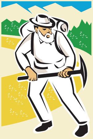 pickaxe: Illustration of a miner or prospector with pick axe and backpack walking with mountains and road in background done in retro style. Illustration