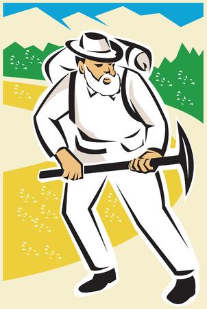 prospector: Ilustración de un minero o prospector con la piqueta y la mochila caminando con las montañas y la carretera en el fondo hecho en estilo retro.