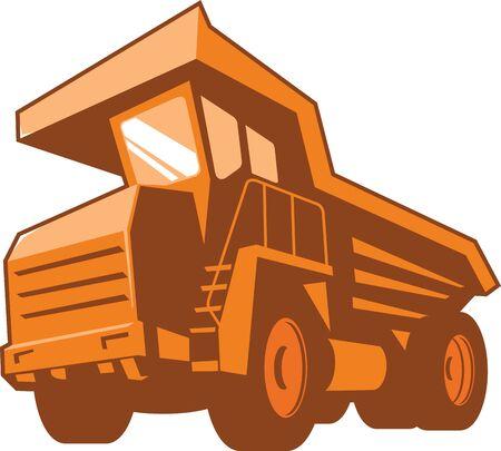 camion minero: Ilustraci�n de un cami�n minero se ve desde un �ngulo bajo hecho en estilo retro en el fondo blanco aislado.