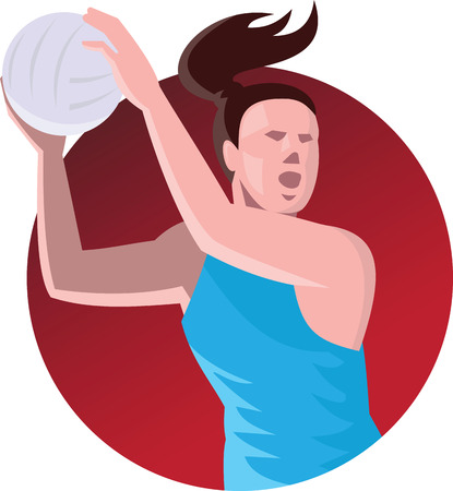 Illustration of a netball player passing ball set inside circle done in retro style on isolated background. Stock Illustratie