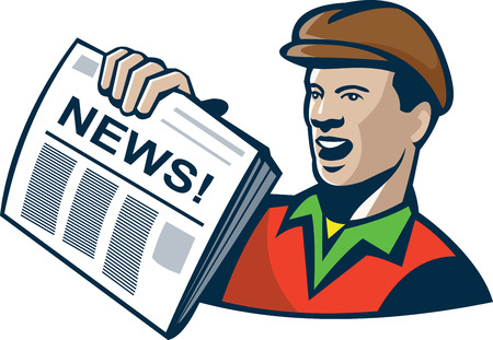 newsboy cap: Illustration of an african american newsboy delivery boy holding newspaper done in retro style on isolated white background.