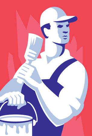 tradesman: Illustration of a painter worker tradesman holding paint brush and paint can set inside rectangle done in retro style on isolated background.