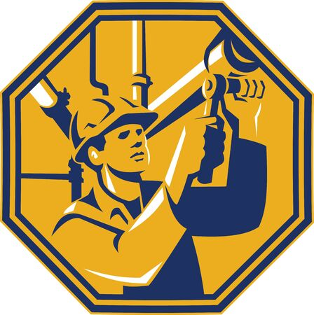 pipefitter: Illustration of a gas pipefitter plumber maintenance worker with socket wrench tightening pipe tubing set inside hexagon done in retro style. Illustration