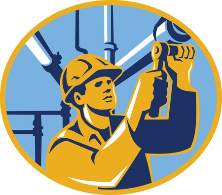 Illustration of a gas pipefitter plumber maintenance worker with socket wrench tightening pipe tubing set inside oval done in retro style. Illustration