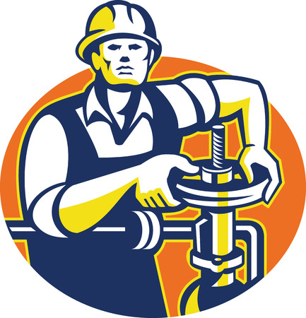 pipefitter: Illustration of a pipefitter oil worker tightening pipeline pipe valve set inside oval done in retro style. Illustration