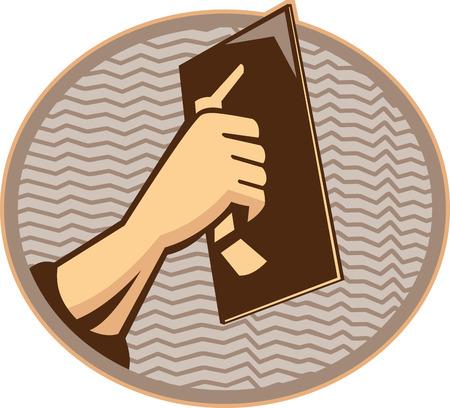 Ilustración de una mano de un comerciante trabajador yesero revoques dentro de óvalo hecho en estilo retro