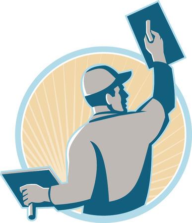 Illustration of a plasterer construction mason worker with trowel at work set inside a circle with sunburst in the background done in retro style.
