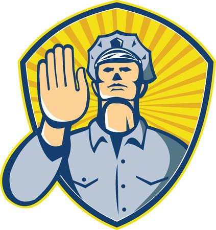 Illustratie van een politieagent politie wetshandhavingsfunctionaris met handen signalering stop set binnen schild gedaan in retro stijl. Vector Illustratie