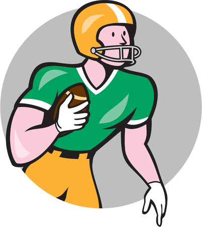 scat: Illustration of an american football gridiron player holding ball rusher running looking to the side set inside circle on isolated background done in cartoon style.