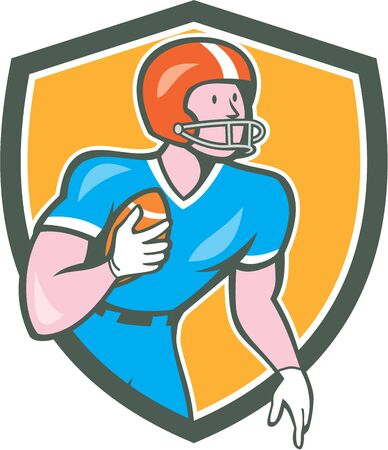 scat: Illustration of an american football gridiron player holding ball rusher running looking to the side set inside shield crest on isolated background done in cartoon style.