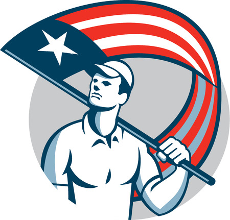 tradesman: Illustration of an American tradesman, handyman,patriot holding a USA stars and stripes flag on shoulder set inside circle on isolated white background. Illustration