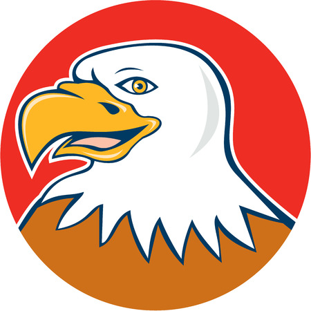 american bald eagle: Illustration of an american bald eagle head smiling facing side set inside circle on isolated background done in cartoon style.