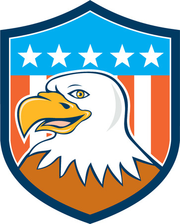 american bald eagle: Illustration of an american bald eagle head smiling viewed from side set inside shield crest with usa flag stars and stripes in the background done in cartoon style.