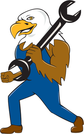 american bald eagle: Illustration of a american bald eagle mechanic standing smiling holding wrench on shoulder viewed from side set on isolated background done in cartoon style.