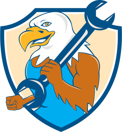 american bald eagle: Illustration of a american bald eagle mechanic smiling holding wrench on shoulder viewed from side set inside shield crest done in cartoon style.