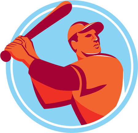 hitter: Illustration of an american baseball player batter hitter holding bat batting looking up to the side set inside circle on isolated background done in retro style.