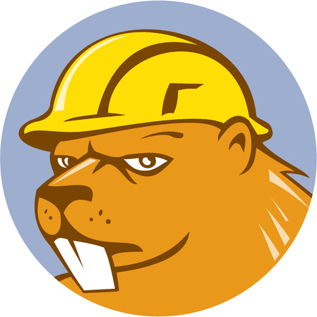 Illustration of a beaver construction worker wearing hard hat set inside circle on isolated background done in cartoon style. Vector
