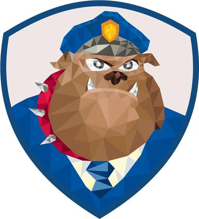 perro policia: Ilustración Low estilo Polígono de un oficial de policía del policía bulldog frente al frente fijó dentro cresta escudo sobre fondo aislado.