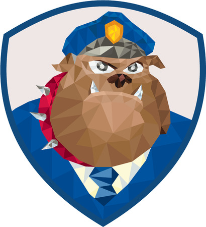 police dog: Low Polygon style illustration of a bulldog policeman police officer facing front set inside shield crest on isolated background. Illustration