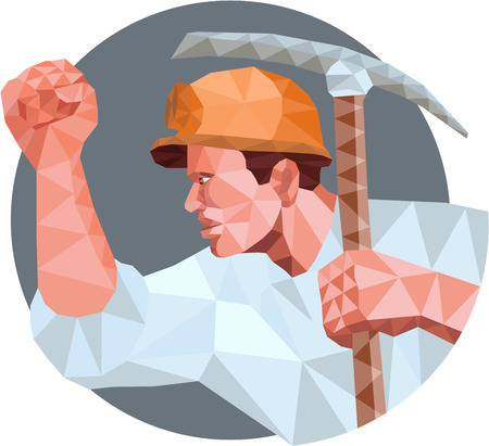 coal miner: Low Polygon style illustration of a coal miner wearing hardhat pumping fist  holding pick axe and showing fist viewed from the side set inside circle.