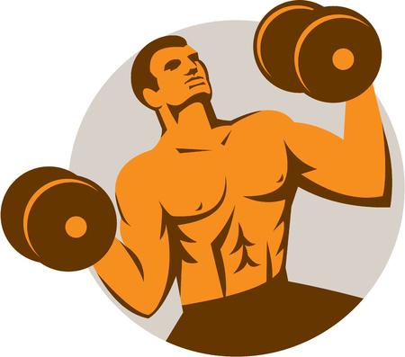 levantar pesas: Ilustración de un hombre fuerte músculo-up crossfit atleta de levantamiento de pesas mirando hacia arriba frente al frente fijó el círculo interior hecho en estilo retro en el fondo aislado.