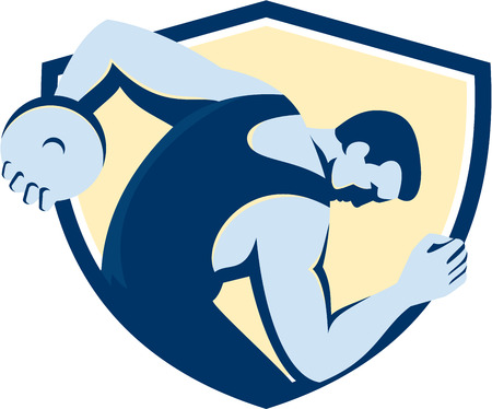 discus: Illustration of a discus thrower viewed from the side set inside shield crest on isolated background done in retro style. Illustration
