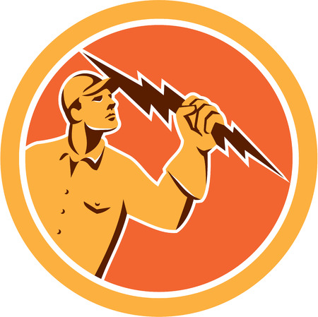 tradesman: Illustration of an electrician construction worker looking up holding a lightning bolt viewed from the side set inside circle done in retro style on isolated background.